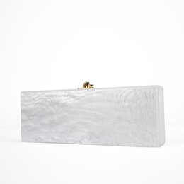 pearl red box 2019 - bags with 2017 White Pearl Long Size Acrylic Box Clutch Bag With Mirror Inside Gold Hardware Handmade Pearl White Evenin