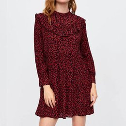 China women vintage leopard dress sweet ruffles long sleeve o neck pleated female casual straight dress vestidos QA456 cheap sweet pleated chiffon mini dress suppliers