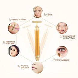 Wholesale Slimming Face roller 24k Gold Colour Vibration Facial Beauty Roller Massager Stick Lift Skin Tightening Wrinkle Bar