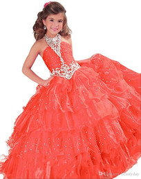 $enCountryForm.capitalKeyWord UK - New Girls Pageant Dresses Little Toddler Kids Ball Gown Royal Blue Red Orange Tulle Glitz Flower Girl Dresses For Weddings Beaded