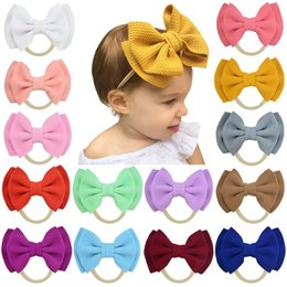 headbands bow Australia - Free DHL INS Double Layer Bow Hairband Baby Girls Toddler Kids Elastic Headband Knotted Nylon Turban Head Wraps Bow-knot Hair Accessories