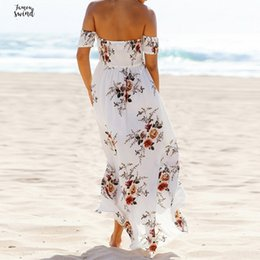 Floral spandex maxi dress online shopping - Print Long Party Dress Sundress Women Sexy Off Shoulder Beach Maxi Dress Summer Strapless Split Plus Size Vestidos