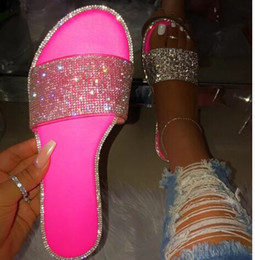 Free Shipping 2019 New Sandals Women Shinny Diamond Casual Flip-flops Outdoor Travel Crystal Shoes Non-slip Durable Africa Wish Slippers on Sale