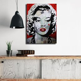 Hd flowers painted canvas online shopping - Marylin Monroe Flower Portrait HD Wall Art Canvas Poster And Print Canvas Oil Painting Decorative Picture For Office Living Room Home Decor