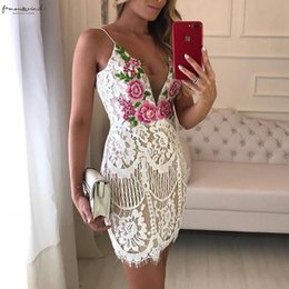 mini slips party NZ - 2020 Spaghetti Strap Sexy V Neck Sleeveless Hollow Out Cocktail Party Dresses Embroidered Lace Crochet Overlay Mini Slip Dress