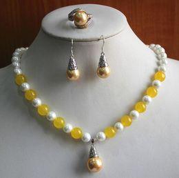 Yellow onYx jewelrY online shopping - Prett Lovely Women s Wedding birthday gift jewelry set Women s mm white pearl mixed yellow gem Necklace earring rin