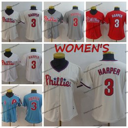 Wholesale Womens Philadelphia Ladies Phillies Bryce Harper Baseball Jerseys Cheap Vintage Blue Girls Bryce Harper Stitched Baseball Shirts S XXL