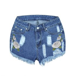$enCountryForm.capitalKeyWord Australia - Fashion Ladies High Waist Embroidery three-dimensional Flower Denim Shorts Outdoor Casual Cool Wear Hot Pants Jeans Shorts Sexy
