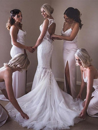 $enCountryForm.capitalKeyWord Australia - Elegant Mermaid Wedding Party Gown Bridesmaid Dresses 2020 Long with Sequined Spaghetti Straps Shinny Side Slit Evening Gowns Prom Dress