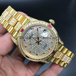 Diamond Man Watch Sale Australia - 4 Color Luxury Watch Full Diamond 36mm 41mm Mans Or Woman Hot Sale Good President Day Date Watches Little red dots 2813 Automatic