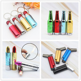 lipstick gas Australia - Newest Lipstick Beer Bottle Keychain Open Fire Flame Jet Inflatable Butane Lighter No Gas 4 Styles Cigarette Smoking Tool Gift