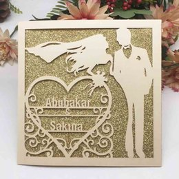 $enCountryForm.capitalKeyWord NZ - 100PCS  lot Hollow Laser Cut Personal Tailor Name Wedding Invitation Cards Decoration With Engagements Marriage Anniversary Invitations Card