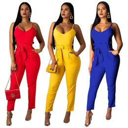 Plus Size V Neck Jumpsuit Australia - Plus Size Sexy Deep V-Neck Backless Black Bodycon Rompers Women Lace Up Casual Long Pants 2019 Summer Black Jumpsuits