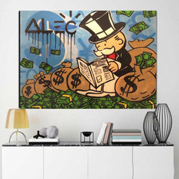 Discount street painting canvas Alec Monopoly Graffiti wall street Home Decor Handpainted &HD Print Oil Painting On Canvas Wall Art Canvas Pictures 2005