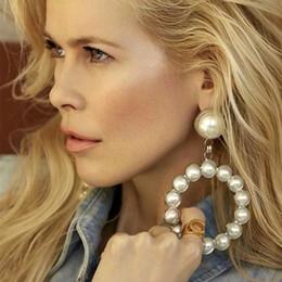 $enCountryForm.capitalKeyWord Australia - Vintage White Pearls Circle Pendant Dangle Earrings For Women Jewelry Accessories Bohemian Style Statement Earrings Hot Sale