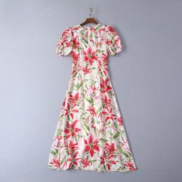 $enCountryForm.capitalKeyWord Australia - 2019 Summer Flower Print Dress Runway Dress High end Womens short Sleeves O neck Charming Gauze Party Gown Long Dress 6282