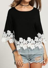 $enCountryForm.capitalKeyWord Australia - New Fashion T shirt women Lace half sleeve round neck splicing black casual cute ladies clothing