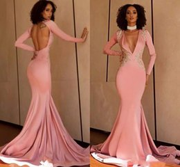 $enCountryForm.capitalKeyWord Australia - Yong Girls Sexy Pink Mermaid Evening Dresses Deep V Neck Long Sleeve Open Back Corset Lace Applique Party Prom Gowns