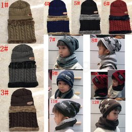13styles Children Hats Scarf Set Kids Winter Knit Hats Baby Girls Boys Thick Warm Wool Cap Scarf Neck Warmer party gift FFA2888