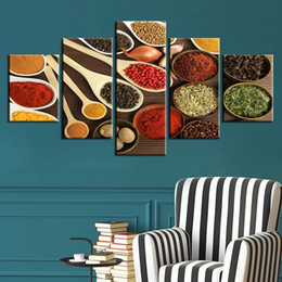 Painting Kitchens NZ - Modern Wall Art Pictures HD Prints 5 Pieces Spoon Grains Spices Modular Canvas Painting Home Decor Kitchen Food Poster No Frame