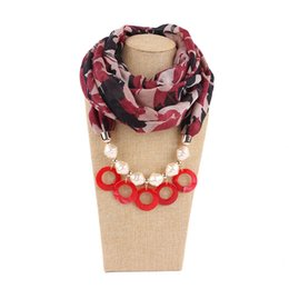 Circle Jewelry Necklace Scarves Australia - 2019 New Pendant Scarf Necklace Bohemia Necklaces For Women Chiffon Scarves Pendant Jewelry Wrap Foulard Female Accessories Shell pendant s