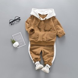 Branded Baby Kids Clothes Australia - Baby Boys And Girls Suit Brand Tracksuits Kids Clothing Set Hot Sell Fashion Spring Autumn Long two piece cottor suit clothes