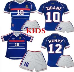 zidane jersey france NZ - high Quality1998 FRANCE RETRO kids kits 10 ZIDANE VINTAGE ZIDANE HENRY MAILLOT DE FOOT soccer jerseys uniforms Football Jerseys shirt