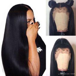 $enCountryForm.capitalKeyWord NZ - Human Hair Lacefront Wig Pre Plucked Virgin Peruvian Long Black Straight Glueless 13x4 Frontal Full Lace Human Hair Wigs Cheap