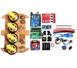 $enCountryForm.capitalKeyWord Australia - Freeshipping New Avoidance tracking Motor Smart Robot Car Chassis Kit Speed Encoder Battery Box 4WD Ultrasonic module For kit