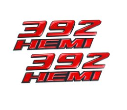 Sticker Badges Personalized Australia - 2Pcs 392 HEMI Emblem Fender Side Badge Sticker 6.4L Decal Replacement for Dodge Challenger SRT Chrysler 300c 3500 SRT8
