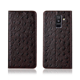 A6 Cards NZ - Ostrich Texture Phone Case For Samsung Galaxy A6 Plus 2018 Genuine Cowhide Leather Flip Card Phone Case For Samsung Galaxy A6 Plus 2018 Case