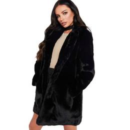 Womens Thick Cardigans UK - Womens Warm Faux Fur Coat Long Cardigan Top Fashion Ladies Fluffy Shaggy Pocket Jacket Turn Thick Down Collar Plush Outwear