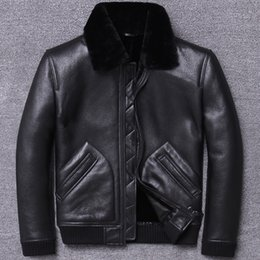 real motorcycle jackets Australia - 2019 Winter Genuine Leather Jacket Men Sheep Shearling Coat for Men Real Wool Fur Lining Motorcycle Este Cuir Homme U804 KJ3196