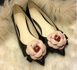 wide pointed toe flats Australia - 2016 spring Sweet shoes brand style women camellia flowers mixed colors shallow mouth pointed toe flat shoes lady single shoe
