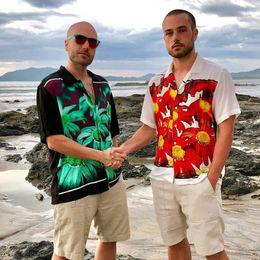 Rayon t shiRts men online shopping - 19SS Box Logo X Jean Tee Flower Power Rayon Shirt Vacation Tee Short Sleeve Tops Street T shirt Casual Tooling Work Summer Holiday HFYMTX579