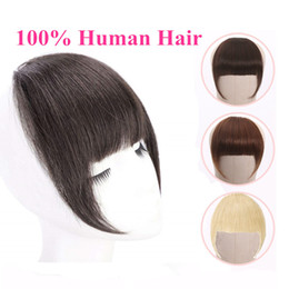 Brazilian Human Hair Blunt Bangs Clip In Human Hair Extension Remy Clip-In Fringe Bangs alipearl 613 Blonde Neat on Sale