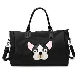 $enCountryForm.capitalKeyWord Australia - Casual PU Leather Travel Bags Black Couple Cartoon Dog Embroidery Overnight Weekend Bag Short Trip GYM Big Hand Luggage
