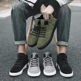 Spring Fall Canvas Shoes Australia - 2019 new spring Casual canvas shoes High help shoes men's Korean version of the trend of wild net shoes