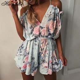 $enCountryForm.capitalKeyWord Australia - Bohemian Style Playsuit Floral Print Sexy Rompers Short Overalls Top Macacao Feminino Women Clothes Casual Summer Beach Jumpsuit Q190521