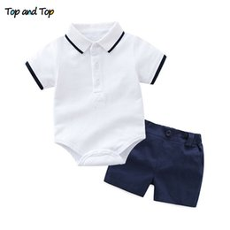 infant romper toddler Australia - Top and Top Baby Boy Clothing Set Summer Cotton Short Sleeve Romper Tops+Shorts Infant Boys Outfits Toddler Boy Clothes T191024