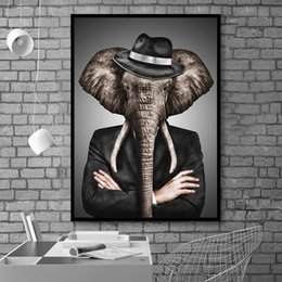 pictures elephants painted canvas 2019 - Canvas Modular Pictures Wall Art Print Painting Lion Tiger Elephant Character Playing Nordic Poster Modern Home Decor Ki