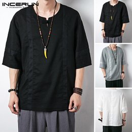half shirts men NZ - INCERUN 2020 Summer Half Sleeve Shirt Men Vintage O Neck Streetwear Cotton Blouse High Quality Solid Color Retro Casual Camisa