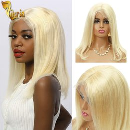 14 inch wigs straight NZ - 13x4 613 Bob Wigs Blonde Brazilian Straight Human Hair 8~14 inches Short Bob Pre Plucked Natural Hairline With Baby Hair For Black Women
