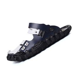 79eb64d30fd Man Sandals Fashion Casual Flat Heels Spilit Leather Male Retro Beach  Slipper Men s Roman Summer Shoes