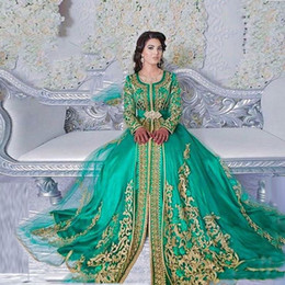 sheer sleeved prom dresses Canada - Vintage Long Sleeved Emerald Green Muslim Formal Evening Dresses Abaya Designs Dubai Turkish Prom Prom Dresses Gowns Moroccan Kaftan