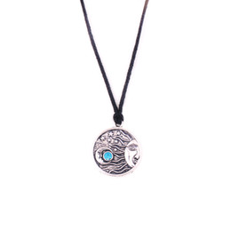 $enCountryForm.capitalKeyWord UK - HY117 Viking Jewelry Religious Moon Stars Pendant necklaces Universe Amulet colorful crystal coin Pendant Leather Necklace