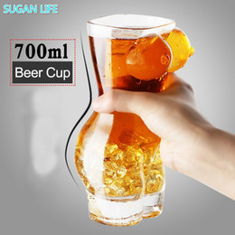 big beer glasses Australia - Sexy Lady Men Durable Double Wall Whiskey Glasses Wine Shot Glass Big Chest Beer Cup 700ml