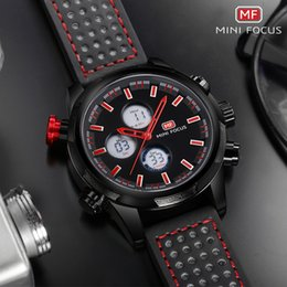 $enCountryForm.capitalKeyWord NZ - MINI FOCUS Men's Army Sports Chronograph Watches 2019 New Leather Strap LCD Display Quartz Wristwatch Man EL Backlight 0066G Red