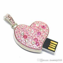 Necklaces Pendants Australia - Design Real Capacity Fashion metal crystal heart pendant necklace usb 2.0 flash drive16GB~64GB