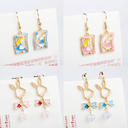 $enCountryForm.capitalKeyWord Australia - 2019 Fairy Tales Cute White Rabbit Alice in Wonderland Clip Earrings Non No Piercing Ear Hole Charm Dangle Earrings women Gift